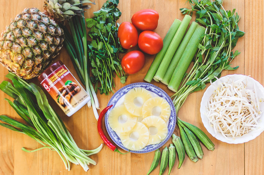 Aromatic Herbs Cooking At Home Food Food And Drink Freshness Healthy Eating High Angle View Indoors  Ingredient Ingredients For Canh Chua No People Okra Pineapple Raw Food Scallion Tamarind Paste Tomato Tomatoes Variation Vegetable Vietnamese Recipe