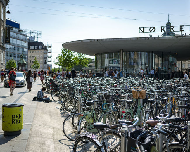Copenhagen, Denmark Adult Architecture Bicycle Bike Bikes Bisycle Building Exterior Built Structure City Copenhagen Crowd Day Group Of People Land Vehicle Large Group Of People Men Mode Of Transportation Nature Outdoors Real People Sky Street Transportation Women