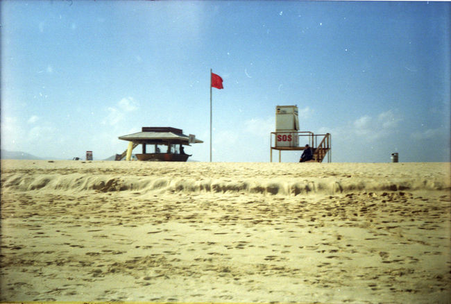 Fuerteventura Beach Blue Sky Day Film Photography Filmcamera Flag Nature No People Redflag Sand Sky Smena 35mm Ussr Made Lomo Camera Yellow