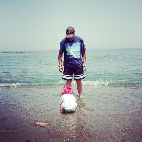 Child Toddler  Sea Water Ocean Sand Beach Grandad