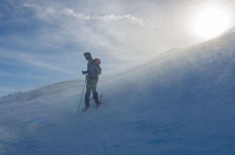 Adventure Cold Temperature Day Mountain Nature Outdoors Ski Mountaineering Skitouring Sky Snow Stormy Windy Winter