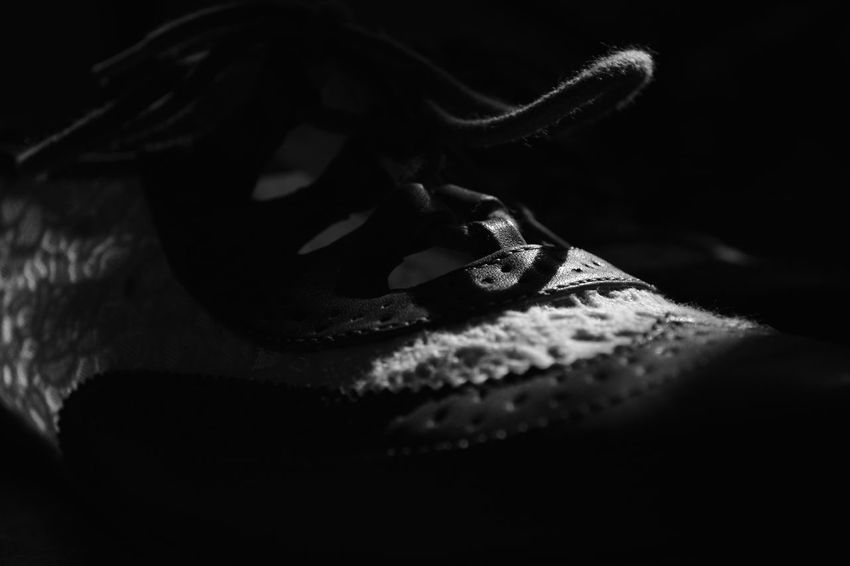 Apparel Black And White Blackandwhite Close Up Close-up Clothing Contrast Dark Day Detail EyeEm Gallery Freshness Indoors  Light Lights And Shadows No People Selective Focus Shadow Shoe Shoes Textured  BYOPaper! Out Of The Box