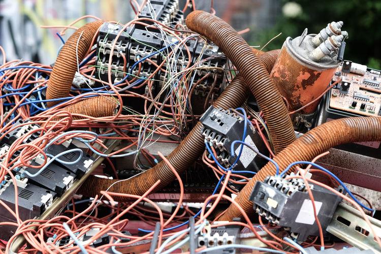 Close-Up Of E-Waste In Junkyard