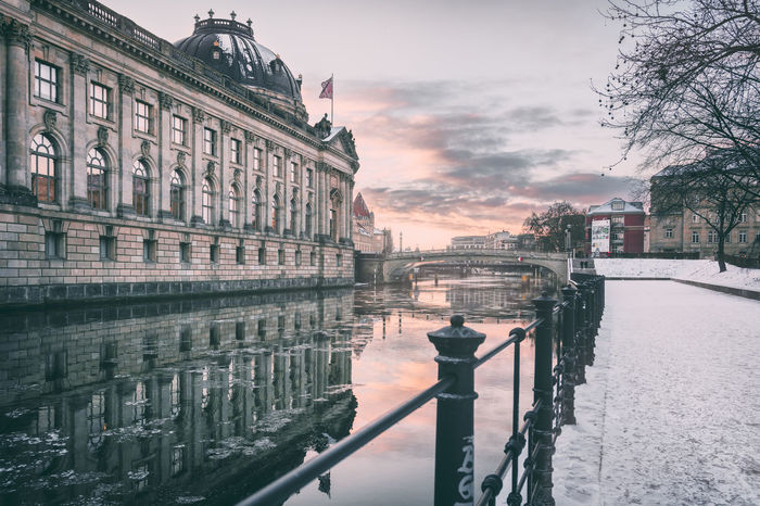 Bodemuseum | Berlin, Germany 2016 Architecture Architecture Berlin Berlin Germany Berlin Photography Berlin Sightseeing Berlin Travel Berliner Ansichten Bodemuseum Bodemuseum Berlin Canal City City Life Day Famous Landmarks Fernsehturm Berlin  International Landmark Berlin Outdoors Reflections Reflections In The Water Sky Spree River Sunset In Berlin Travel Destinations Water Winter In Berlin