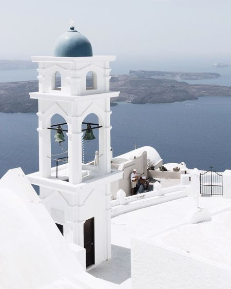 Religion Whitewashed Spirituality Place Of Worship White Color Architecture Built Structure Sea The Week On EyeEm Cross Travel Destinations Outdoors History No People Mountain Dome Water Nature Building Exterior Sky EyeEmNewHere Greece Santorini Clear Sky Santorini, Greece