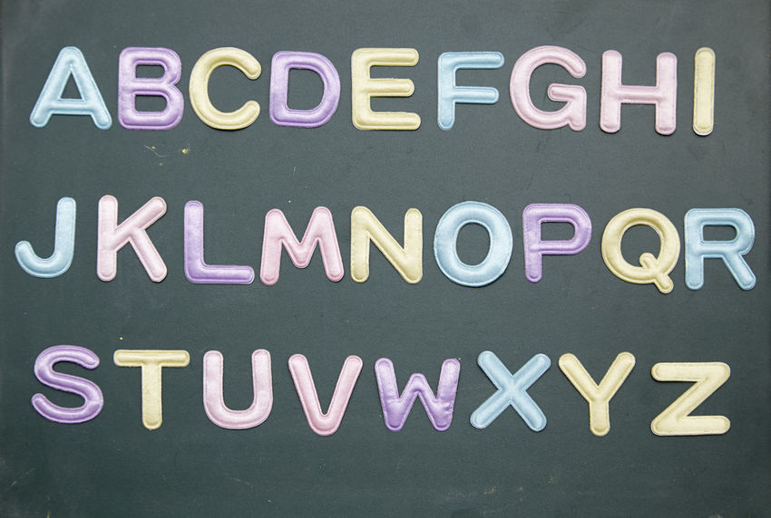 alphabet on the blackboard Alphabet Font A To Z Arrangement Preschooler Blackboard  Chalkboard Education Learning Studying English Text Western Script Communication Capital Letter No People Close-up Indoors  Directly Above Top View Message Information