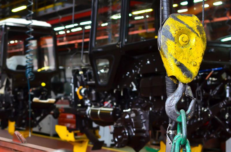 Close-up of yellow machine