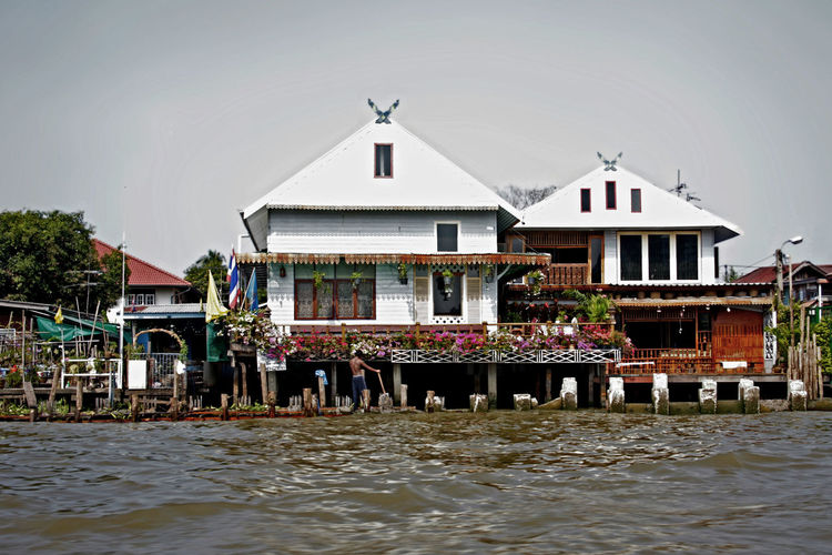 Architecture Bangkok Building Building Exterior Built Structure Canal Exterior Façade House On The River House On The Water Residential Structure Rippled River Thai House Thailand Water White Building