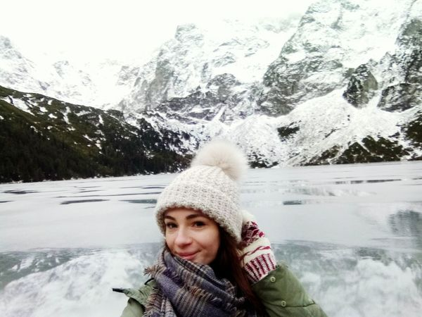 Warm Clothing Young Women Snow Cold Temperature Portrait Mountain Winter Women Water Smiling