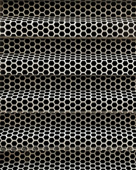 Backgrounds Pattern Full Frame Metal No People Close-up Outdoors Day Grille Bus Sieve  Hexagon Shape Ventilate Fine Art
