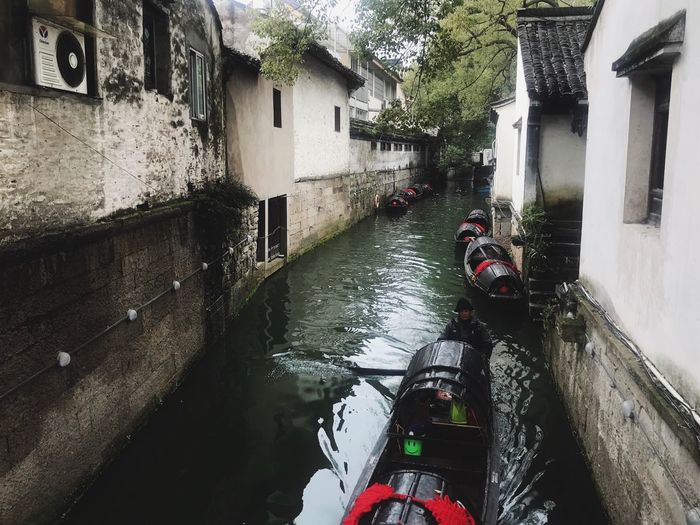 Traveling In China Boat River Building Exterior Built Structure Architecture Water Canal Building Day Transportation Incidental People Residential District