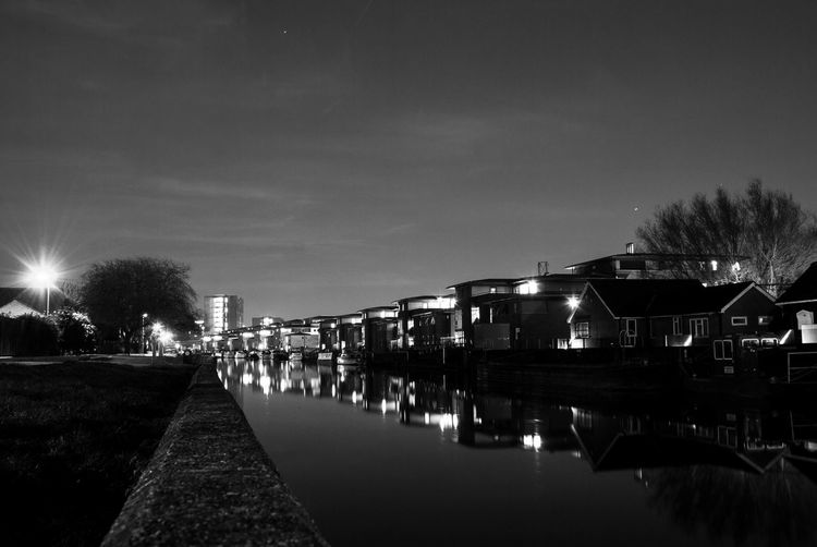 Illuminated Night Architecture Sky Built Structure Nature Water Building Exterior No People Lighting Equipment Street Light Direction Tree The Way Forward City Reflection Building Street Outdoors Canal Blackandwhite Black And White Black & White Nightphotography City