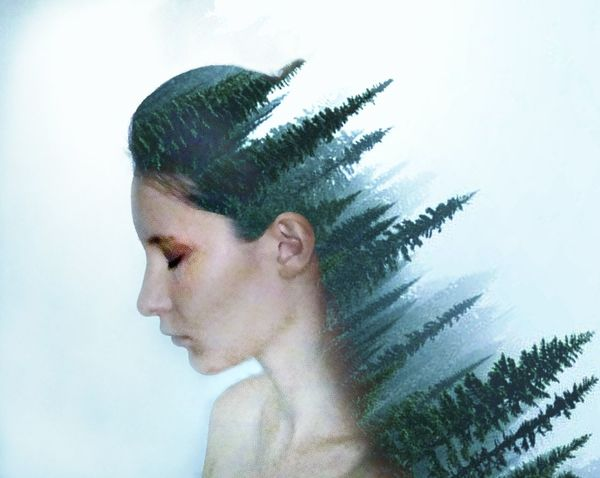 Only Women One Woman Only One Person Adults Only One Young Woman Only Adult Young Adult Human Body Part Human Face Side View Abstract Beautiful Woman Young Women Portrait Forest Double Exposure EyeEmNewHere