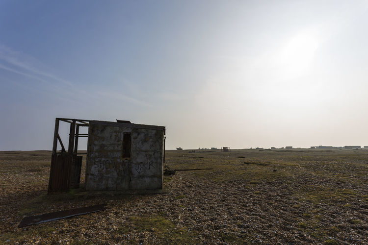 Fishing Shack at Dungeness, Romney Marsh, England, United Kingdom Architecture Beauty In Nature Clear Sky Day Field Grass Landscape Nature No People Outdoors Sky