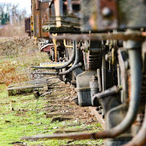 Abandoned train on railroad track