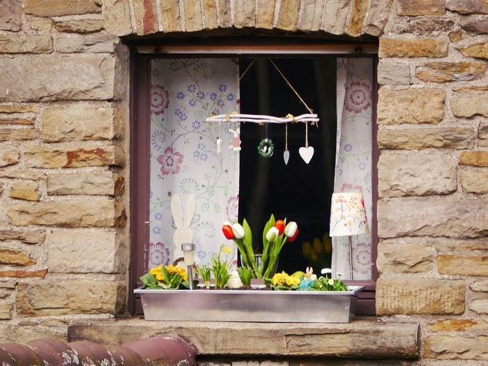Celebration Architecture Brick Wall Building Exterior Built Structure Close-up Day Easter Decoration Flower Flowers Box Hanging No People Outdoors Plant Potted Plant Sandstone Stonewall Window Window Box
