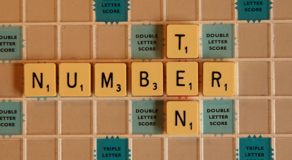 Number Ten in Scrabble 10 Letters Close-up Indoors  Number Scrabble Scrabble Tiles Ten