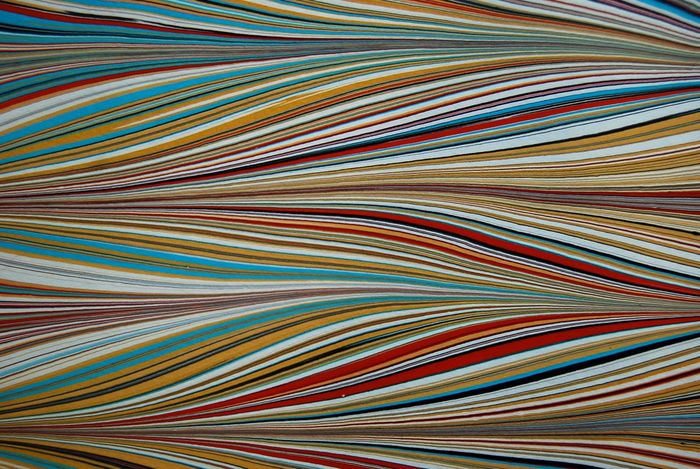 Marbled Paper Marbling Abstract Ochre Red Blue Texture Background Monoprint Pattern Wavy Ebru Art Ebru Colorful Bright Rippled Ripples Gel Git Waves Monoprint