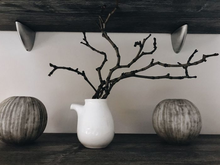 Monochrome Decor Decorative Art Plant No People Still Life Table Wood - Material Decoration Vase Art And Craft Close-up Home Interior Nature Potted Plant Wall - Building Feature