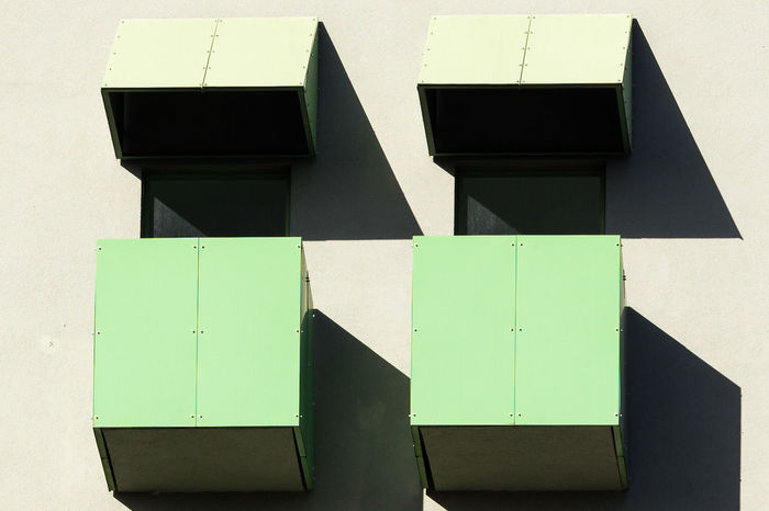 Berlin Architecture Architecture Building Exterior Built Structure Close-up Communication Day Green Color No People Outdoors Public Mailbox Shadow Sunlight Yellow