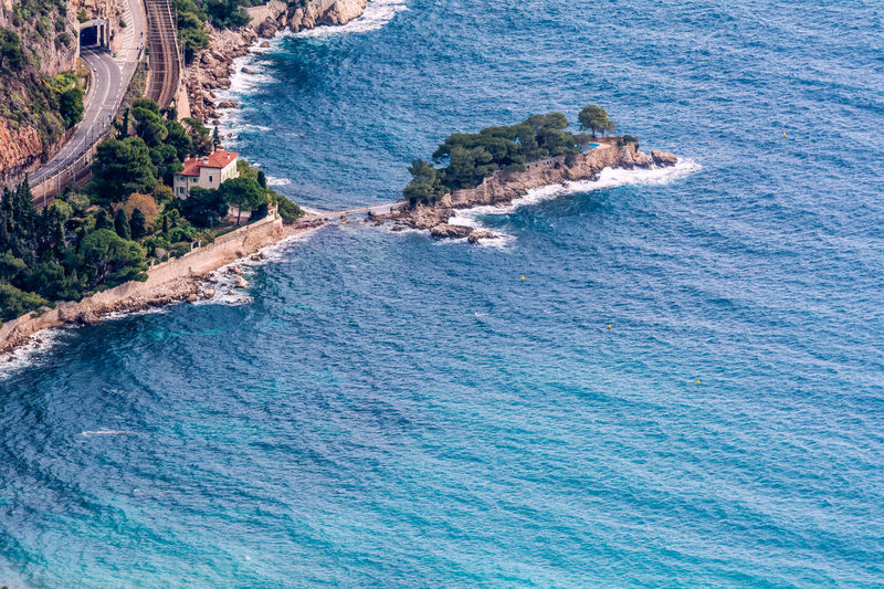 Beach Beauty In Nature Blue Day France French Riviera High Angle View House Landscape Nature No People Outdoors Road Rock - Object Sea Tree Water