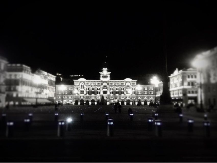 TS by Night. Battle Of The Cities Trieste TriesteSocial Wheremyheartis Piazza Unità Blackandwhite MemyselfandI Noneedtocry Nothingelse Seaitloveit Monochrome Photography Adapted To The City The City Light