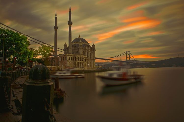 Ortaköy Mosque Reflection Travel Architecture Istanbul Sunrise Bosphorus Turkey Travel Destinations Sky Landscape Outdoors Long Exposure Motion Colorful Objektifimden Bridge Canon Cloud Sea And Sky Sea