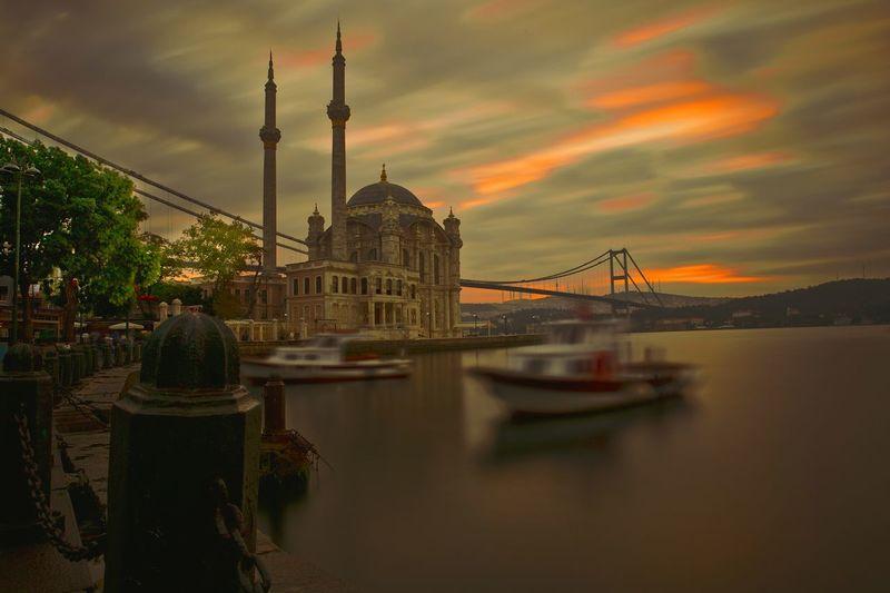 Ortaköy Mosque Reflection Travel Architecture Istanbul Sunrise Bosphorus Turkey Travel Destinations Sky Landscape Outdoors Long Exposure Motion Colorful Objektifimden Bridge Canon Cloud Sea And Sky Sea