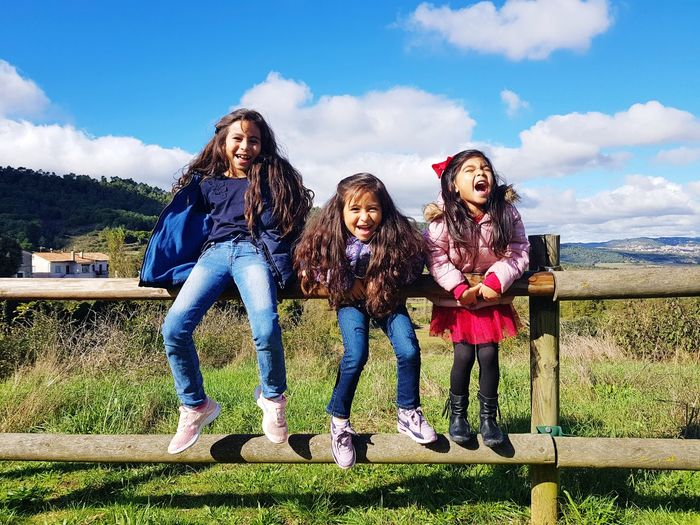 Friendship Young Women Togetherness Full Length Bonding Smiling Females Child Women Happiness