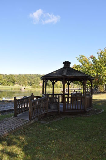 Wood Gazebo in a Park Architecture Beauty In Nature Bridge - Man Made Structure Built Structure Gazebo Landscape No People Outdoors Wood - Material