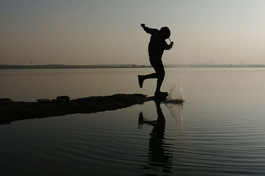 Silhouette Reflection Lake Water One Person One Man Only Only Men