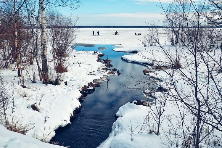 Spring fishing Russia Leningradregion Vsevolozhskiydistrict Stream Matoksa Spring Snow Forest Lake Fishing Landscape Water Blue Reflection Sky Countryside Fisherman Tree Trunk Woods