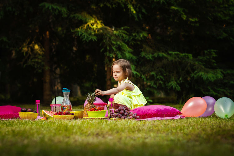 Picnic Girl Child Childhood Kid Forest Summer Grass Girls Women Females Plant One Person Leisure Activity Happiness Real People Green Color Portrait Nature Full Length Smiling Day Selective Focus Outdoors Innocence