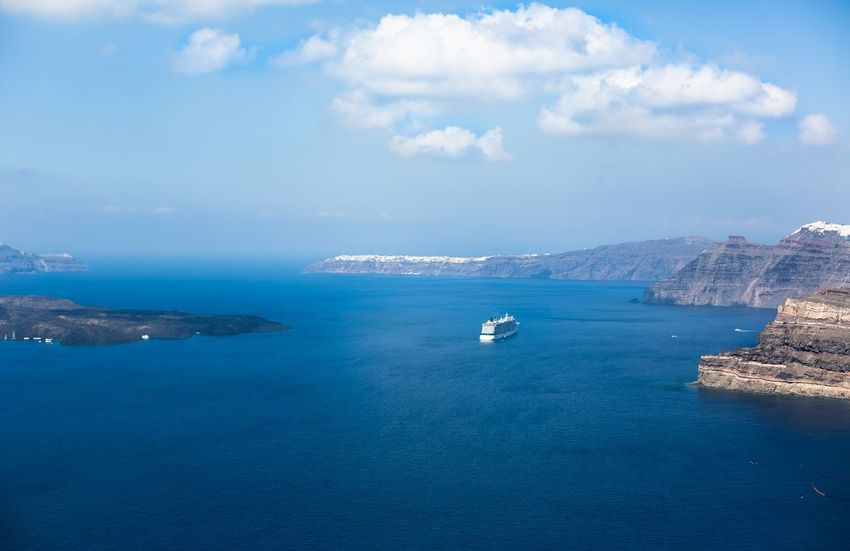 Relaxing at Santorini island, Greece Greek Greek Islands Greek Summer Holiday Santorini Greece Santorini Island Santorini, Greece Vacations Beauty In Nature Cloud - Sky Day Fira Greece Nautical Vessel No People Outdoors Santorini Scenics Sea Summer Thira Tranquil Scene Transportation Water Waterfront