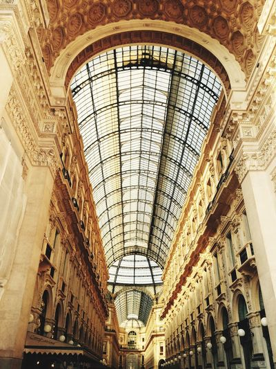 Low Angle View Of Glass Ceiling Roof Of Galleria Vittorio Emanuele Ii