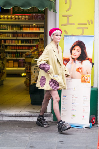Chinatown Fashion LONDON❤ London Soho Woman Beautiful Woman Beret Fishnet Front View Full Length Funky Lifestyles Outdoor Photography Outdoors Real People Street Street Photography Streetphotography Young Adult
