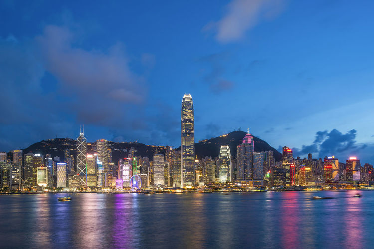 SCENIC VIEW OF HONG KONG SKYLINE ILLUMINATED AT NIGHT