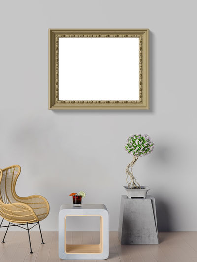 Mock up poster in living room Picture Frame Indoors  Frame No People Plant Domestic Room Wall - Building Feature Table Empty Seat Art And Craft Furniture Paintings Home Interior Absence Vase Chair Copy Space Technology White Color Blank Coffee Table Living Room