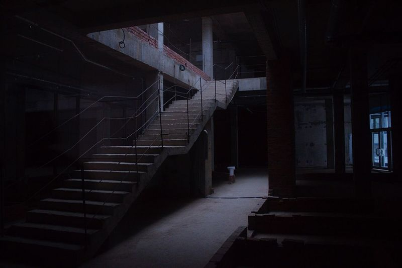 Staircase in illuminated room