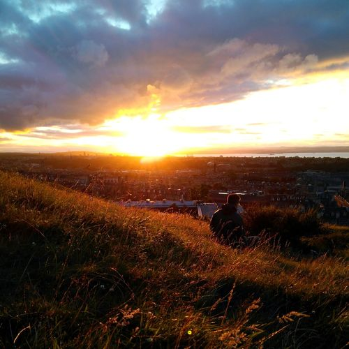 Sunset Nature Cloud - Sky Sunlight Outdoors Gold Colored Calton Hill Tranquility