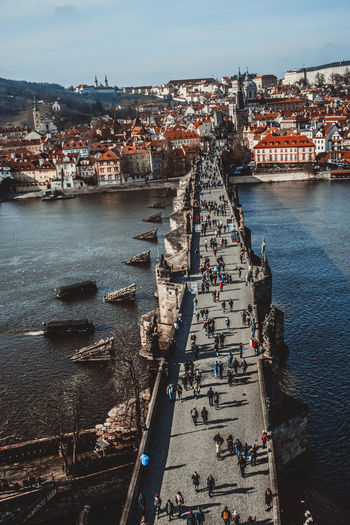 Views Prague Architecture Bridge Bridge - Man Made Structure Building Exterior Built Structure City Cityscape Day High Angle View Old Outdoors Sea Sky Water
