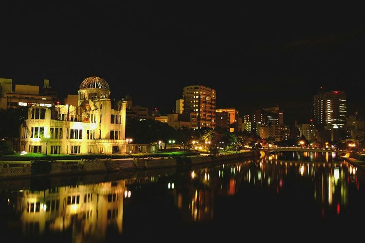 Night shot of the Atomic Bomb Dome here in Hiroshima - time to reflect Reflection Time To Reflect Hiroshima,japan Hiroshima Perspective Nightphotography Night EyeEm Night Shots Night Shot History History Through The Lens  World War 2 Memorial World War 2 Traveling Travel Traveller Explore Adventure Backpacking Backpacker Fuji Xt1 Xt1 Eye4photography  EyeEm Best Shots Perspective Photography