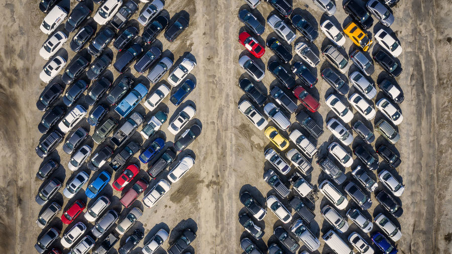 Aerial view of cars at parking lot