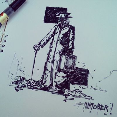 Plague Doctor Day 20 Inktober Doodle Plaguedoctor Blackdeath
