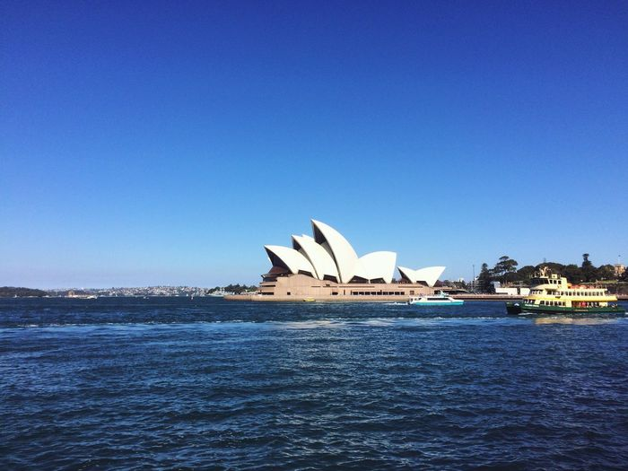 Sydney, Australia Architecture Built Structure Blue City Clear Sky Water Travel Destinations Sydney Opera House Workandtravel Life Outdoors Day Sightseeing Monumentales Harbour Harbour View Postcard View