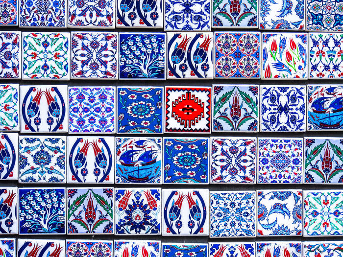 Decorative tiles for sale at a shop in Karakōy, Istanbul Art And Craft Close-up Full Frame Large Group Of Objects Multi Colored No People Pattern Tiles Art