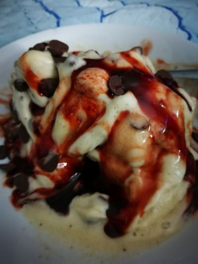 Vegan Banana Ice Cream With Choc Chips And Date Syrup. Food And Drink Freshness Healthy Eating Hwaweip9 Indoors  Close-up Num Num Num