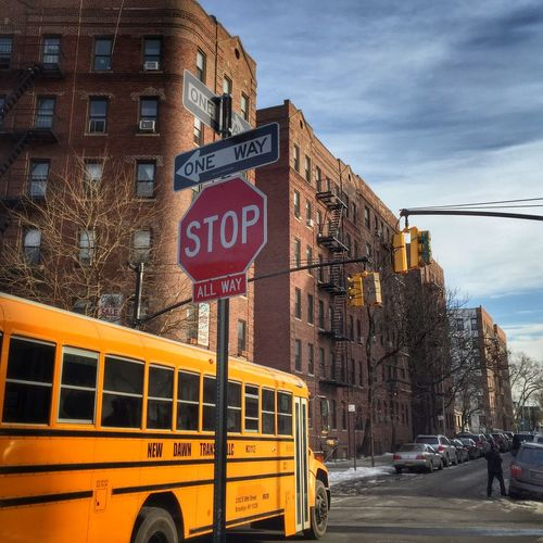 Paint The Town Yellow Stop Sign Stop Light School Bus City Urban
