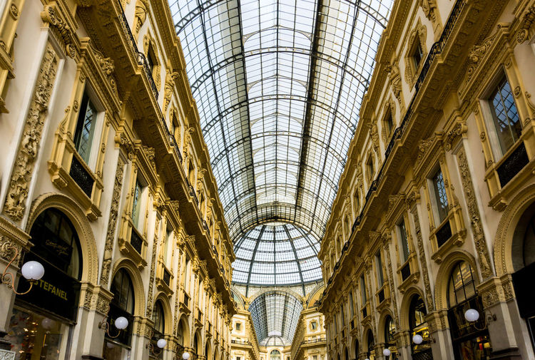 Arch Architectural Feature Architecture Built Structure Ceiling City Day Dome Galleria Vittorio Emanuele II History Indoors  Low Angle View No People Roof Travel Destinations