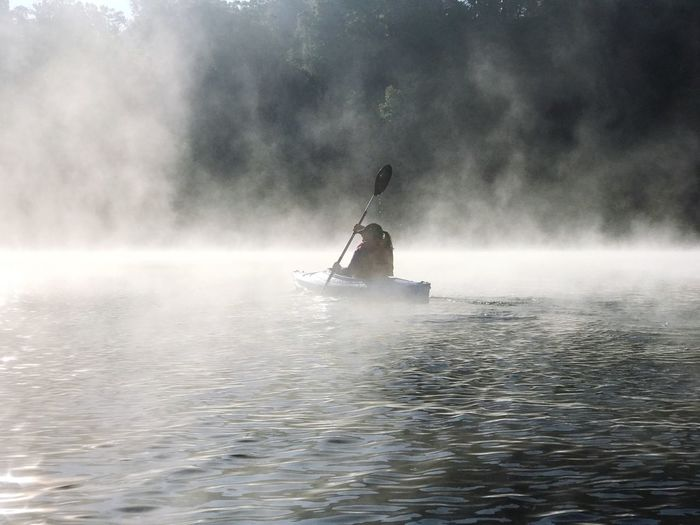 Water Waterfront Day Nature Outdoors Fog Motion One Person Nautical Vessel Real People Adventure Beauty In Nature Sea Sky Oar People Kayaking State Park  Kayak